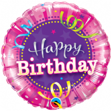 "Birthday Hot Pink Foil Balloon (9"" Air-Fill) 1pc"